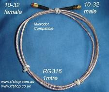 Microdot cable assembly (plug to jack) , RG316,1.0mtrs, MD3MD80-316-1000