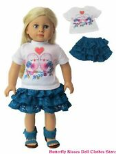 Love Birds & Hearts Top + Lace Skirt 18 in Doll Clothes Fits American Girl Dolls