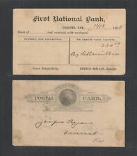 1895 First National Bank Osborne Kansas Advertising Us Postal Card Ux9