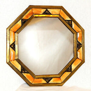 Octagon Mirror Beautiful Nice Gift Authentic Moroccan Yellow Bone Wall Decor