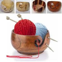Crochet Wooden Yarn Bowl Holder Storage  For Knitting Skeins Non-Slip