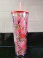 Starbucks Valentine Glitter Hearts Acrylic Cold Cup Tumbler Venti 24oz NEW