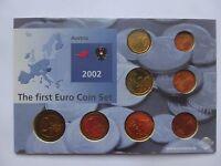 The First Euro Coin Set Austria 2002 2 1 50 20 10 5 2 1 EU Rare UNC Lot Free