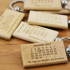 Personalised Engraved My Daddy Calendar Keyring - Wooden Key Rings, Engraved
