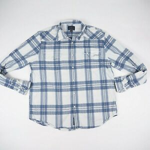 Lucky Brand Pearl Snap Button Blue White Men's Size XL Button Up Plaid Shirt