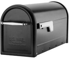 Galvanized Steel Post Mount Medium T1 Mailbox Silver Flag Pull Handle 9x7x21