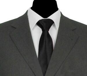 FUNERAL TIE > Classic 7cm Mens Black Plain Solid Satin Necktie >> 1,000+ SOLD