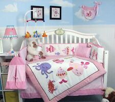 PINK CRIB BEDDING SET UNDER THE OCEAN FRIENDS Infant Baby Girl Nursery Quilt++