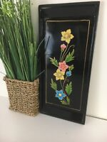 vintage hand painted floral lacquer tray, rectangle