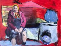 Original Impressionist Realism Portrait Babushka Painting Russian Ukrainian USSR
