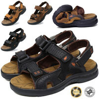 Men's Genuine Leather Fisherman Beaches Cool Sports Sandals Waterproof Shoes US