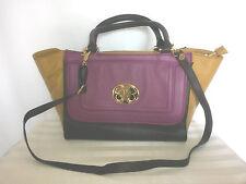 NEW EMMA FOX women's leather satchel tote bag-purple brown yellow-MSRP $298