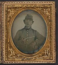 Photo Civil War Confederate Young Soldier Shell Jacket Single Shot Pistol