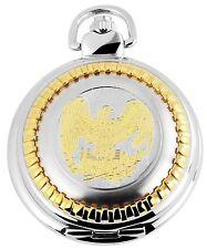 Taschenuhr weiß Silber Gold Adler Wappen Quarz Herrenuhr D-50742418021320