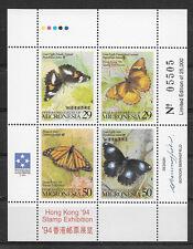 MICRONESIA , 1994 , BUTTERFLIES , SOUVENIR SHEET ,  PERF, MNH