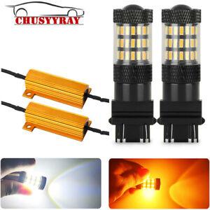 Upgrade 3157 LED Switchback White Yellow Dual Color Filament Bulb Flashback 2X