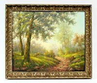 Country Road Landscape 20 x 24 Art Oil Painting on Canvas w/Carved Wood Frame