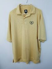 Footjoy Golf Polo Large Yellow and Blue Striped Derby County Club