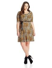 Star Vixen Women's Jewel Gather Dress Neck Piping Tie Belt Leopard Plus Size 2X