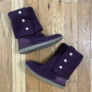 UGG Australia Women's Classic Cardy Maroon Knit Sweater Foldover Boots Size 7