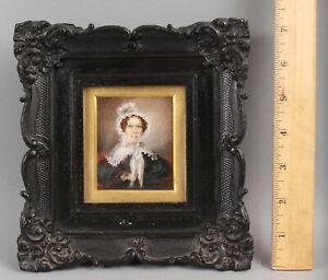 Antique 19thC Miniature Folk Art Portrait Painting Woman Thermoplastic Frame