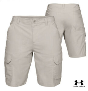 Under Armour UA Storm Fish Hunter Men Size 38 Stretch Cargo Shorts Khaki 30+ UPF