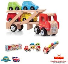WOODEN CAR TRANSPORTER Kids Toy Truck Van Engine Vehicle Boys Toy Gift Present