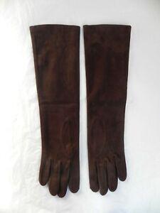Sermoneta Women's Long Opera Brown Suede Gloves Silk Lining Size 7
