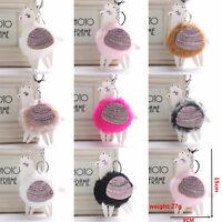 Cute PomPom Alpaca Fur Ball Cell Phone Car Keychain Pendant Handbag Keyring Gift