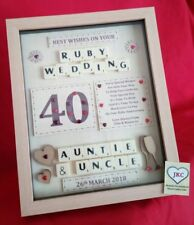 40th WEDDING ANNIVERSARY GIFT PERSONALISED PICTURE FRAME KEEPSAKE RUBY PLAQUE