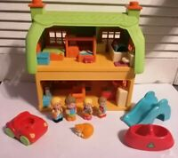 Early Learning Centre Happyland Rose Cottage 5 Figures Plus Car Slide & Seesaw