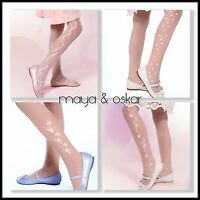 Girls White Patterned Tights Communion Bridesmaid Sheer Hosiery 20 DEN 5 -10+yrs