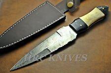 "DI7 ~ 10"" CUSTOM HRC DAMASCUS HUNTING SURVIVAL KNIFE HORN & BONE HANDLE - USA"