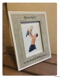 Personalised Grey Photo Frame Fathers Day Dad Grandad Wood Picture Birthday