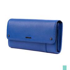 DIESEL AMAZONITE Genuine Leather Two Tone Popper Flap Long Clutch Wallet