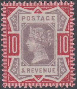 1890 JUBILEE SG210 10d DULL PURPLE & CARMINE MINT HINGED K39(1)
