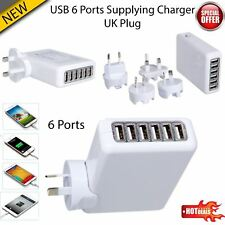 6 Ports Multi USB Charger Adapter Travel Wall AC Power Supply UK/EU/US/AU Plug