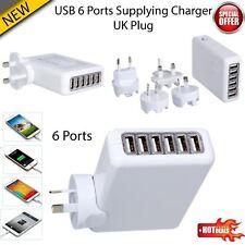 6 puertos USB Cargador Adaptador viajes pared múltiples fuente de alimentación de CA Reino Unido/UE/NOSOTROS/AU Plug