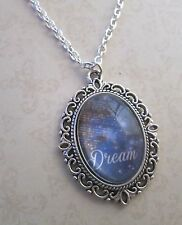"Vintage Silver & Navy ""Dream"" Saying Motivational Necklace New in Gift Bag"