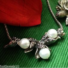 Trio Pearl Tulip Buds Marcasite MUM Sliver Jewelry Necklace Gift For Her N1