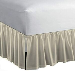 Ivory Color Ruffle Bed Skirt With Split Corner Queen Bed Gathered With Platform