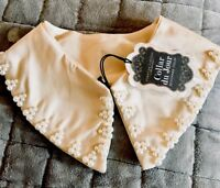 Delicate-kids Size Satin & pearls Detachable Collar w/hook&eye-forever vintage