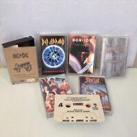 LOT 6 CASSETTE TAPE METAL Def Leppard, Bon Jovi, Pink Floyd, Meat Loaf, +
