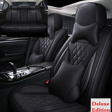 Black Microfiber Leather Car Seat Cover 5-seats Cushion For Interior Accessories