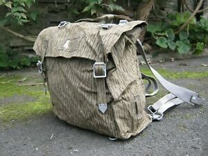 East German Army Bag Backpack With Straps Raindrop Strichtarn Camo Camouflage