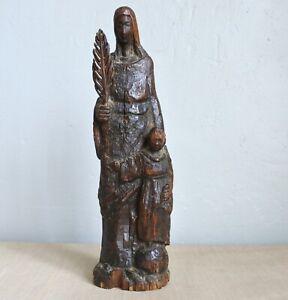 BOIS SCULPTé Sainte à la Palme art populaire du XVIIIe antique carved wood