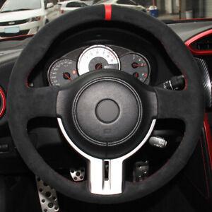 DIY Black Suede Car Steering Wheel Cover for Toyota 86 Subaru BRZ