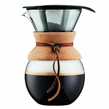 Bodum Pour Over Coffee Maker with Permanent Filter, Glass, 34 Ounce, 1 Liter, (8
