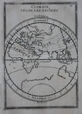 Original antique print WORLD MAP, EASTERN HEMISPHERE, CLIMATE, Mallet, 1683