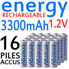 16 PILES ACCUS RECHARGEABLE AA ENERGY NI-MH 3300mAh 1.2V LR06 LR6 R06 R6 ACCU